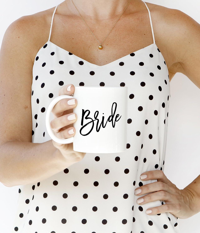 11 oz Coffee Mug Wedding Coffee Cups Hand Lettered Bridal Party Gifts DM0017 Black /& White Bride Coffee Mug Digibuddha Calligraphy Bride Mug