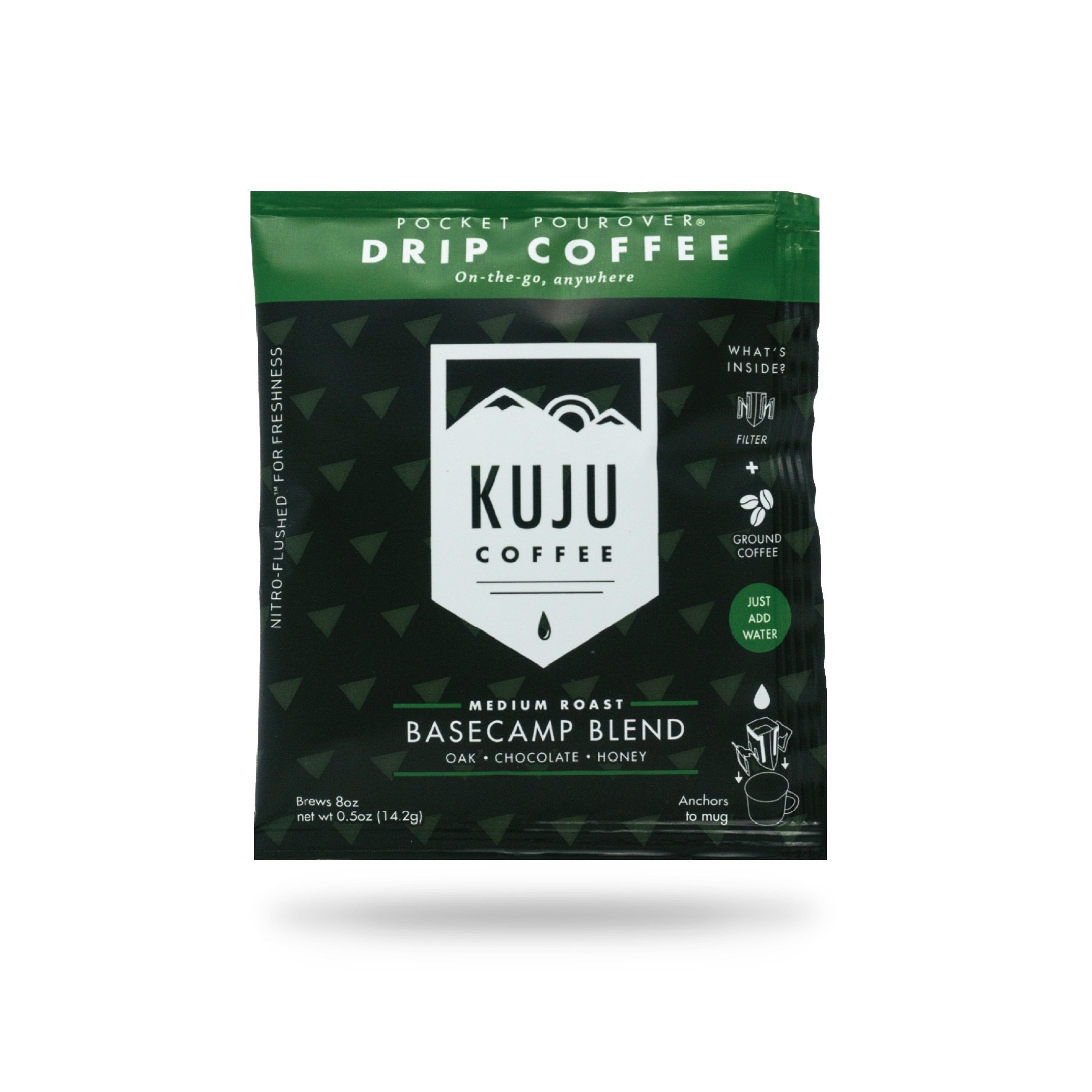 Kuju Coffee Pocket PourOver - Single Serve, Portable Pour Over Coffee - No Equipment Needed - Made with Ethically-Sourced Specialty Coffee - 10-pack | Basecamp Blend, Medium Roast