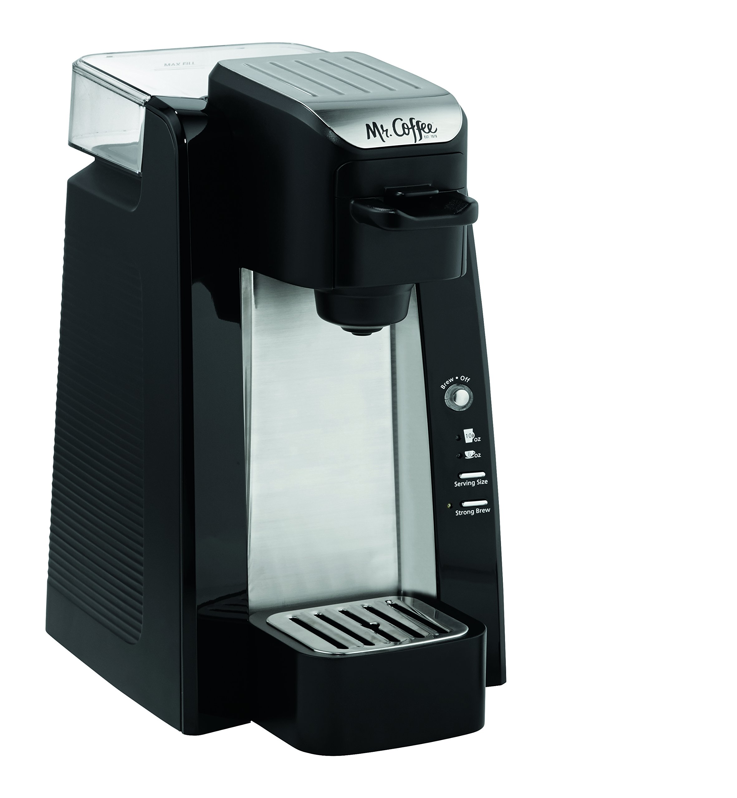 Mr. Coffee BVMC-SC500-2 Single-Serve K-Cup Coffee Maker, Black with Silver Panel