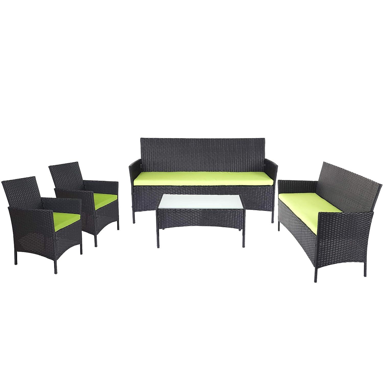 Mendler 3-2-1-1 Poly-Rattan Garten-Garnitur Halden, Sitzgruppe ~ braun-meliert, Kissen grün