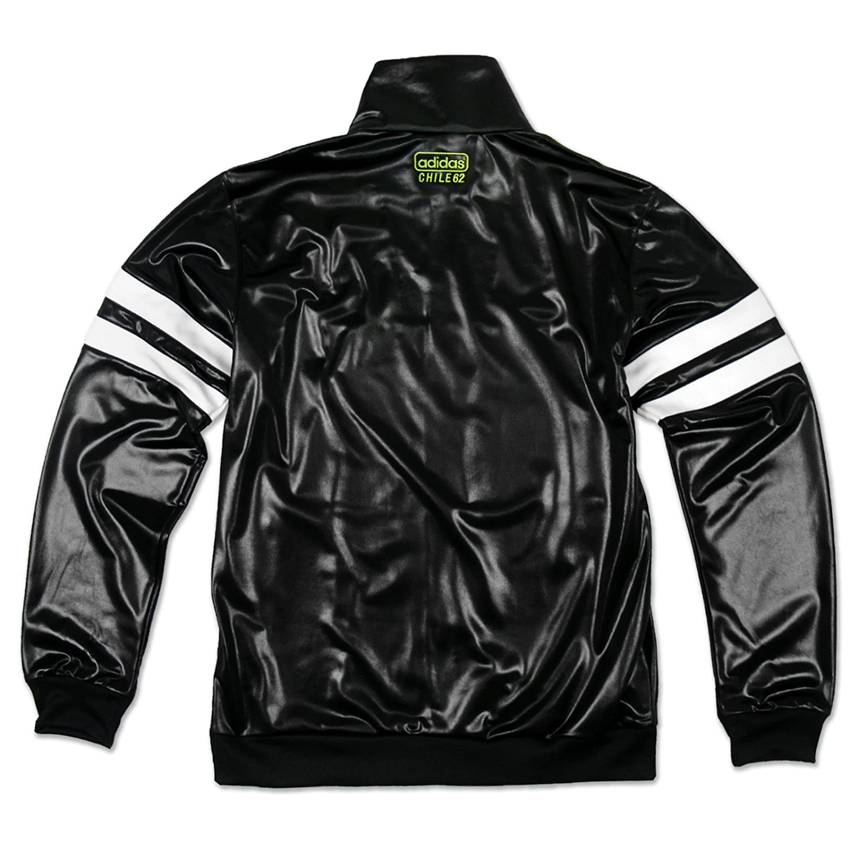 ADIDAS ORIGINALS CHILE 62 Glanz Jacke Herren Sport silber schwarz Größe M
