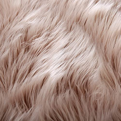LEEVAN Rectangle Sheepskin Rug Supersoft Fluffy Area Rug Shaggy Silky Throw Rug Floor Mat Carpet Decoration 3 ft x 5 ft, Coffee