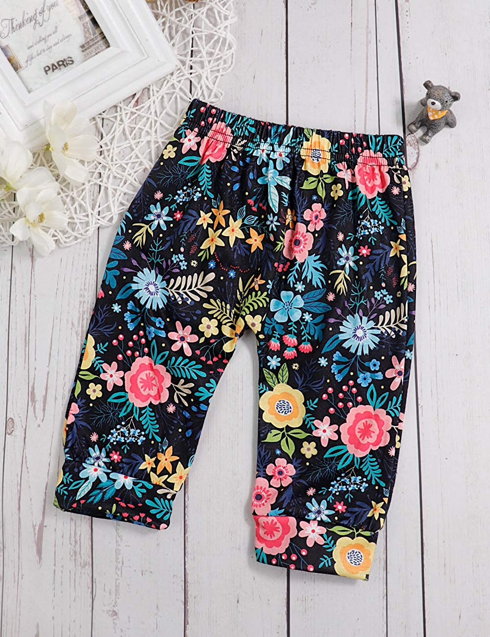 Infant Baby Girl Clothes Long Sleeve Romper Ruffle Bodysuit Floral Pants Outfits with Headband 3Pcs Sets