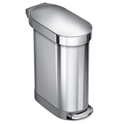 Simplehuman 45 Liter 12 Gallon Stainless Steel Slim Kitchen Step Can With Liner Rim Brushed Stainless Steel