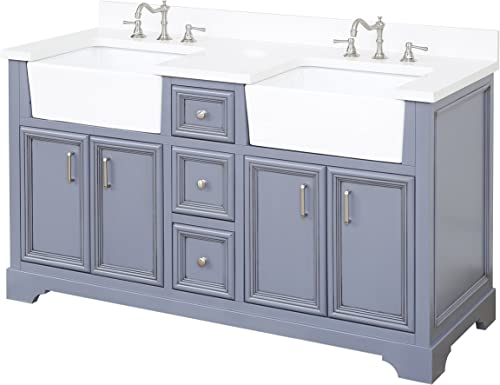 Zelda 60-inch Double Bathroom Vanity Quartz/Powder Gray : Includes Charcoal Gray Cabinet