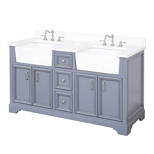 zelda 60 inch double bathroom vanity quartz powder gray includes rh amazon com