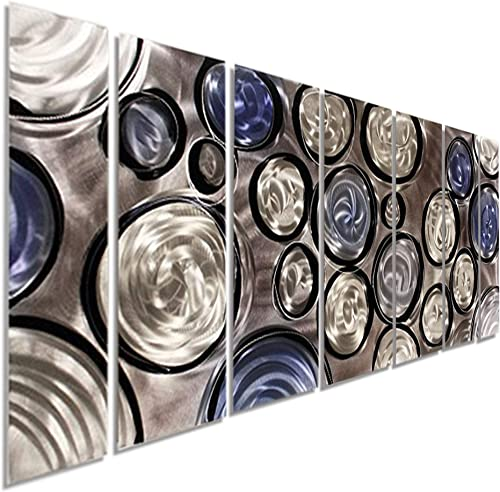 Statements2000 Abstract Large 3D Metal Wall Art Panels Painting Hanging Sculpture by Jon Allen, Silver Blue Black, 68 x 24 – Rains of Blue