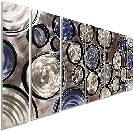 Statements2000 Metal Wall Art Abstract Painting Panels Jon Allen Blue Ripple 3