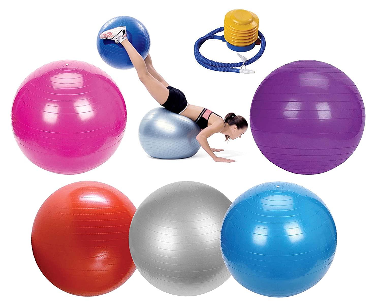 EVER RICH ® EXERCISE GYM YOGA SWISS BALL FITNESS PREGNANCY BIRTHING BALL 65CM + FOOT PUMP