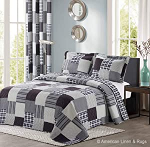 All American Collection Black and Grey Modern Plaid 3-Piece Queen Bedspread and Pillow Sham Set | Matching Curtains Available!