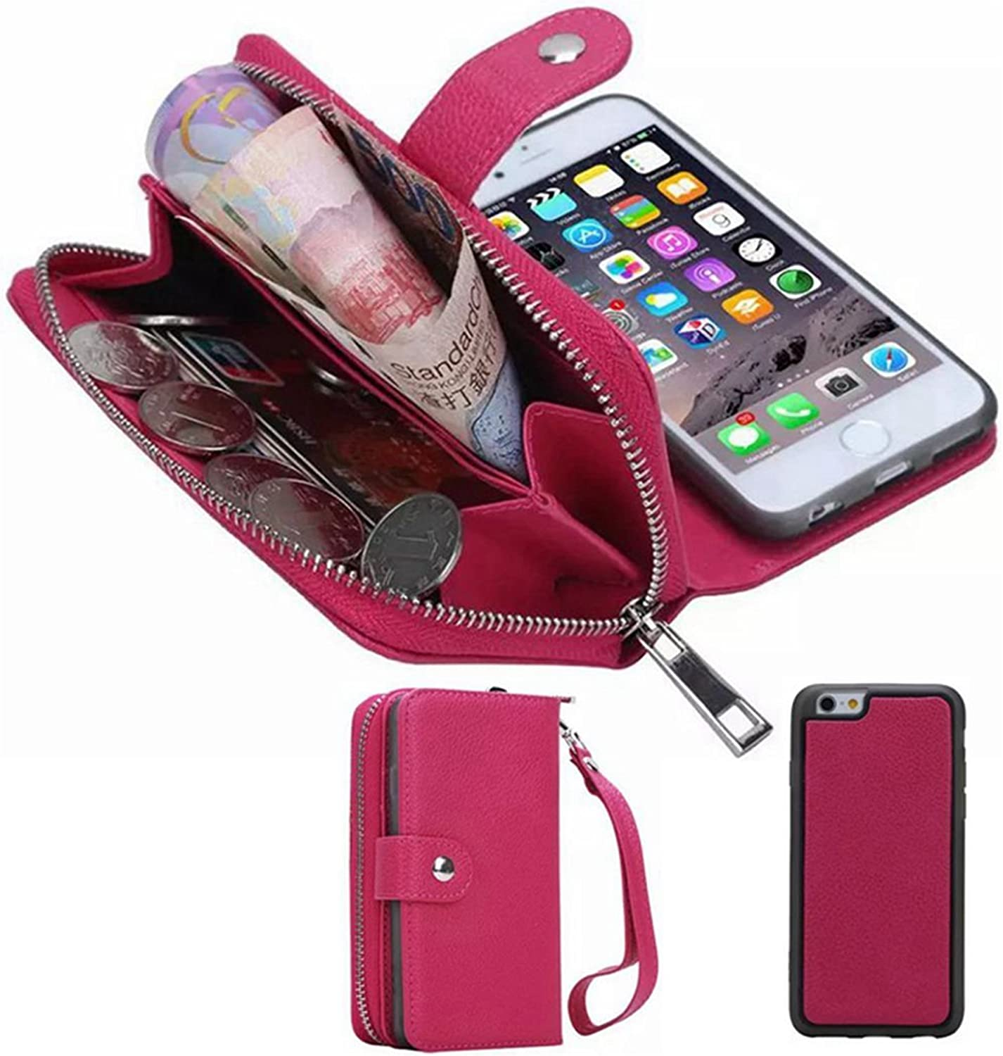 """HYSJY iPhone 6/6SWallet Case, Girls Women Magnets Detachable Zipper Wallet Case iPhone 6/6S Cover PU Leather Folio Flip Holster Carrying Case Card Holder for iPhone 6 /6S 4.7"""" (Rose)"""