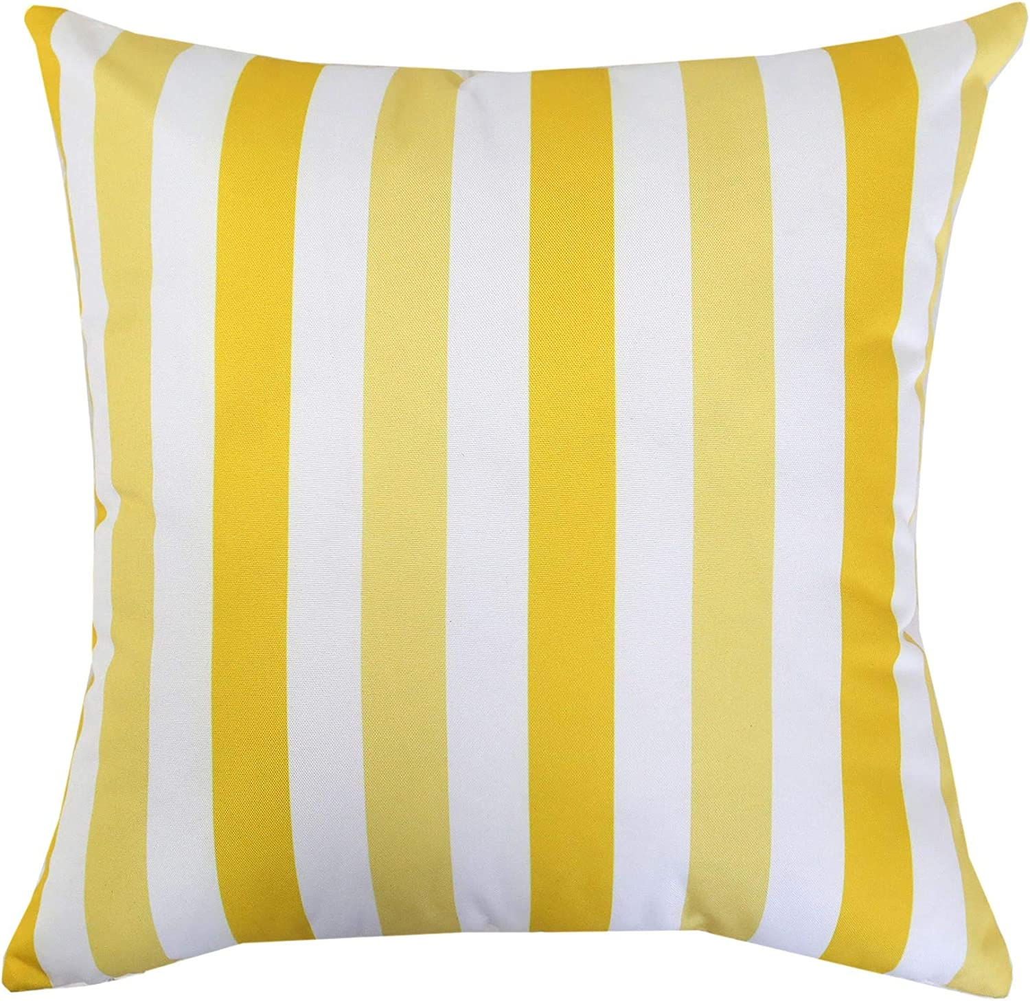 Homey Cozy Outdoor Throw Pillow Cover, Classic Striped 20 x20 , Yellow