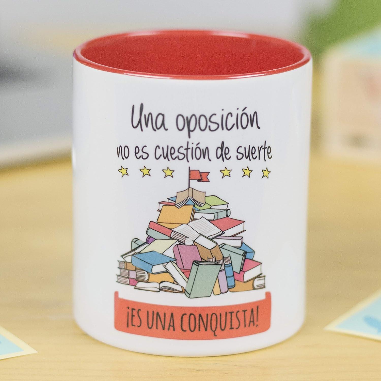 La Mente es Maravillosa - Taza con Frase y dibujo. Regalo original y gracioso (Una oposición no es cuestión de suerte ¡Es una conquista!) Regalo OPOSICIÓN