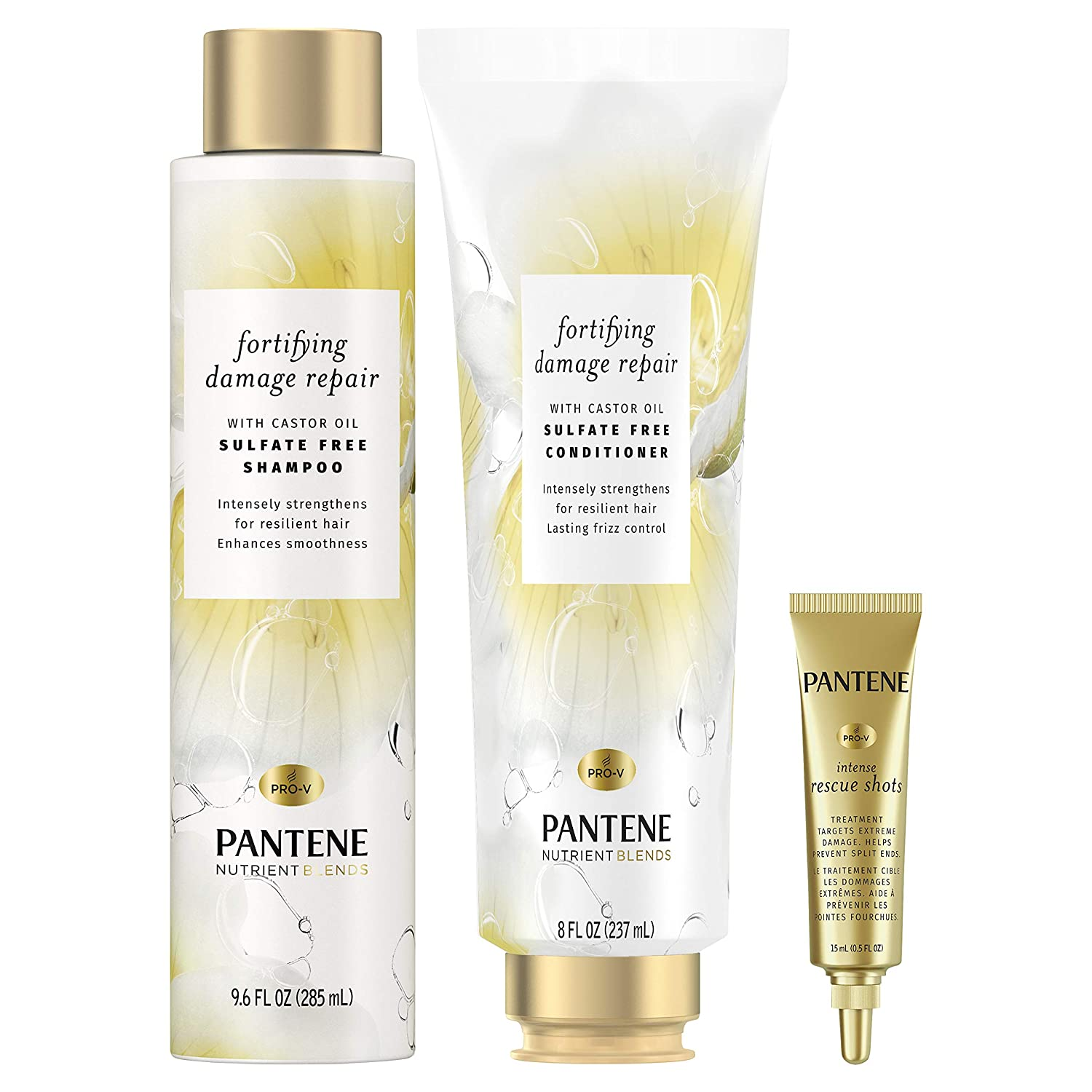 Pantene Shampoo & Conditioner + Rescue Shot Treatment, with Castor Oil, Nutrient Blends Fortifying Damage Repair, Sulfate Free