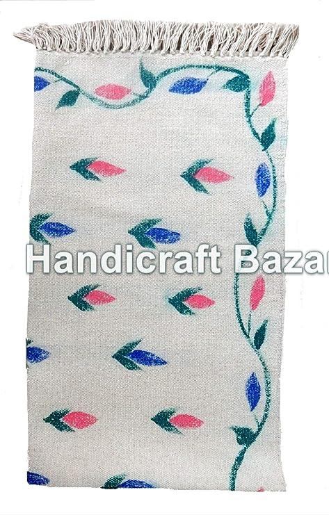 Handicraft Bazar Alfombra India de 3 x 5 pies, 100% algodón étnico ...
