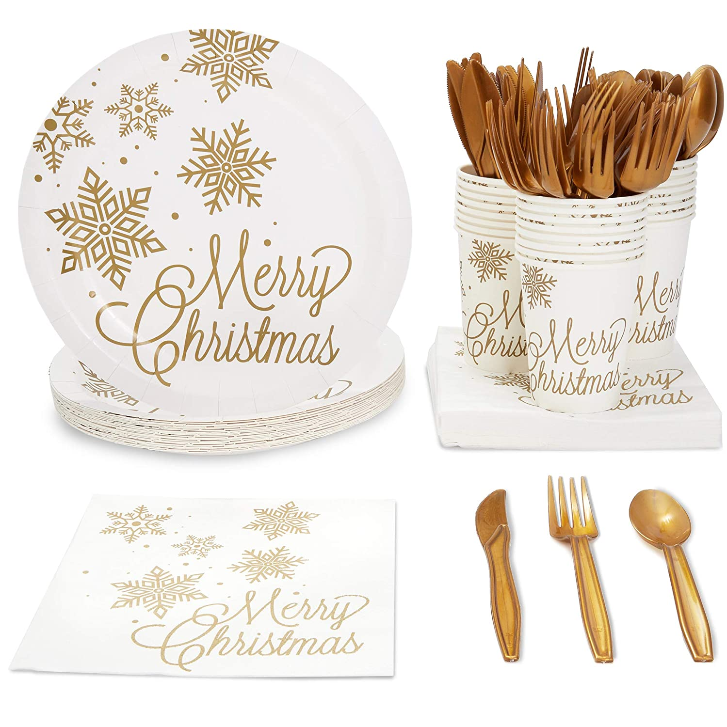 Juvale Christmas Party Supplies  Serves 24   Plates  Napkins  Cups  Cutlery - Gold Snowflakes