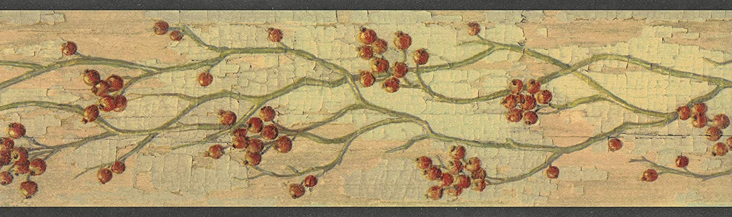 4.57m x 11.43cm Maroon Distressed Berries on Vine Wall Border Retro Design Floral Beige Dundee Deco BD6246 Prepasted Wallpaper Border 15 ft x 4.5 in