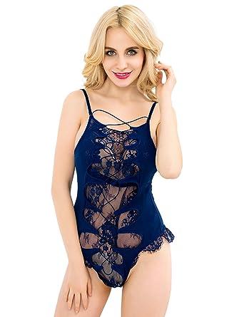 3f79023a42930 Amazon.com: ohyeahlady Women's Sexy Teddy Lingeries Plus Size Badydolls  Navy Babydoll Bodysuit Plus Size: Clothing