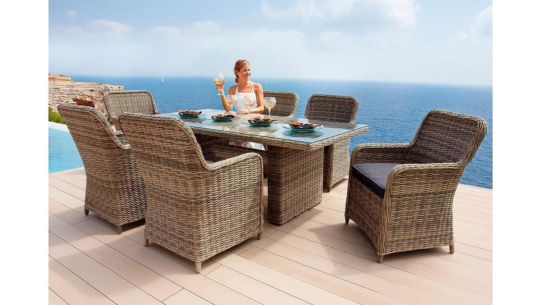 baumarkt direkt 13-tgl. Gartenmöbelset Korsika, 6 Sessel, Tisch 200x100 cm, Polyrattan, braun braun