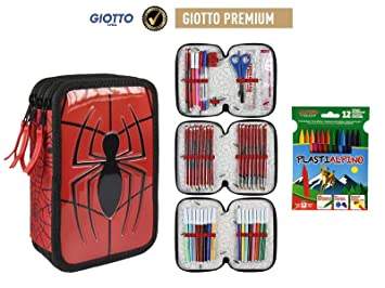 Plumier Estuche Premium de Cremallera Triple 3 Pisos Spiderman Marvel - 43 Piezas Contenido Giotto + Regalo 12 Ceras Alpino Plastialpino