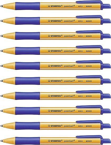 STABILO pointball - Bolígrafo retráctil ecológico recargable - Caja con 10 unidades - Color azul: Amazon.es: Oficina y papelería