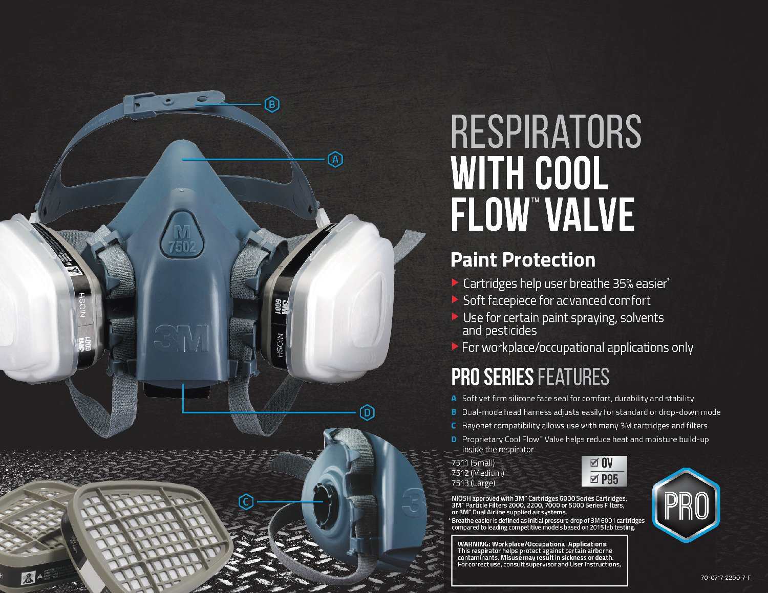 3M 7511PA1-A-PS Professional HalfMask Organic Vapor, N95 Respirator Assembly, Small by 3M Safety (Image #6)