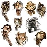 9PCS Animals Cute Cat Wall Emoji Sticker Living Room Bedroom Decoration Animal Wall Stickers Bathroom/