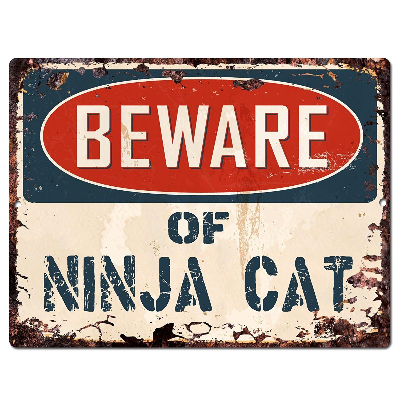 Beware of NINJA CAT Chic Sign Vintage Retro Rustic 9