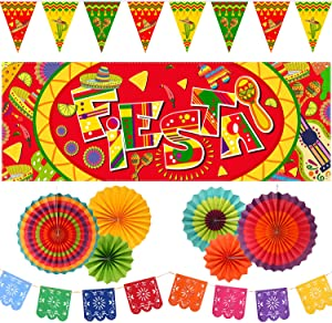 10 Pieces Mexican Party Decoration Set, Mexico Fiesta Banner, Mexican Bunting Flags and Hanging Paper Fans for Cinco De Mayo Mexican Fiesta Carnival Party Supplies or Decor