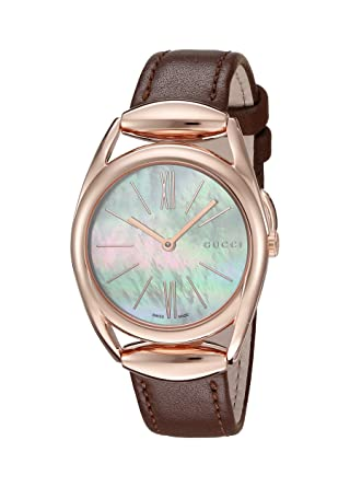 e5a943d100f Image Unavailable. Image not available for. Color  Gucci  Horsebit  Quartz  Metal and Leather Brown Women s ...
