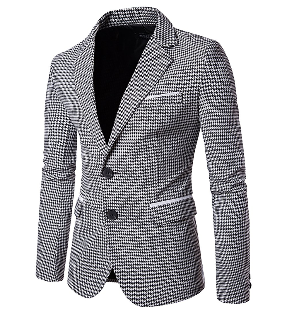 Allthemen Mens Houndstooth Smart Casual Blazer Single Breasted Checked Jacket Vintage Fashion
