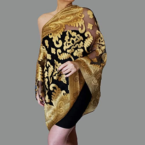e005e23850b Image Unavailable. Image not available for. Color  Mustard Shawl Black  Evening Wrap Yellow Wedding Stole By ZiiCi