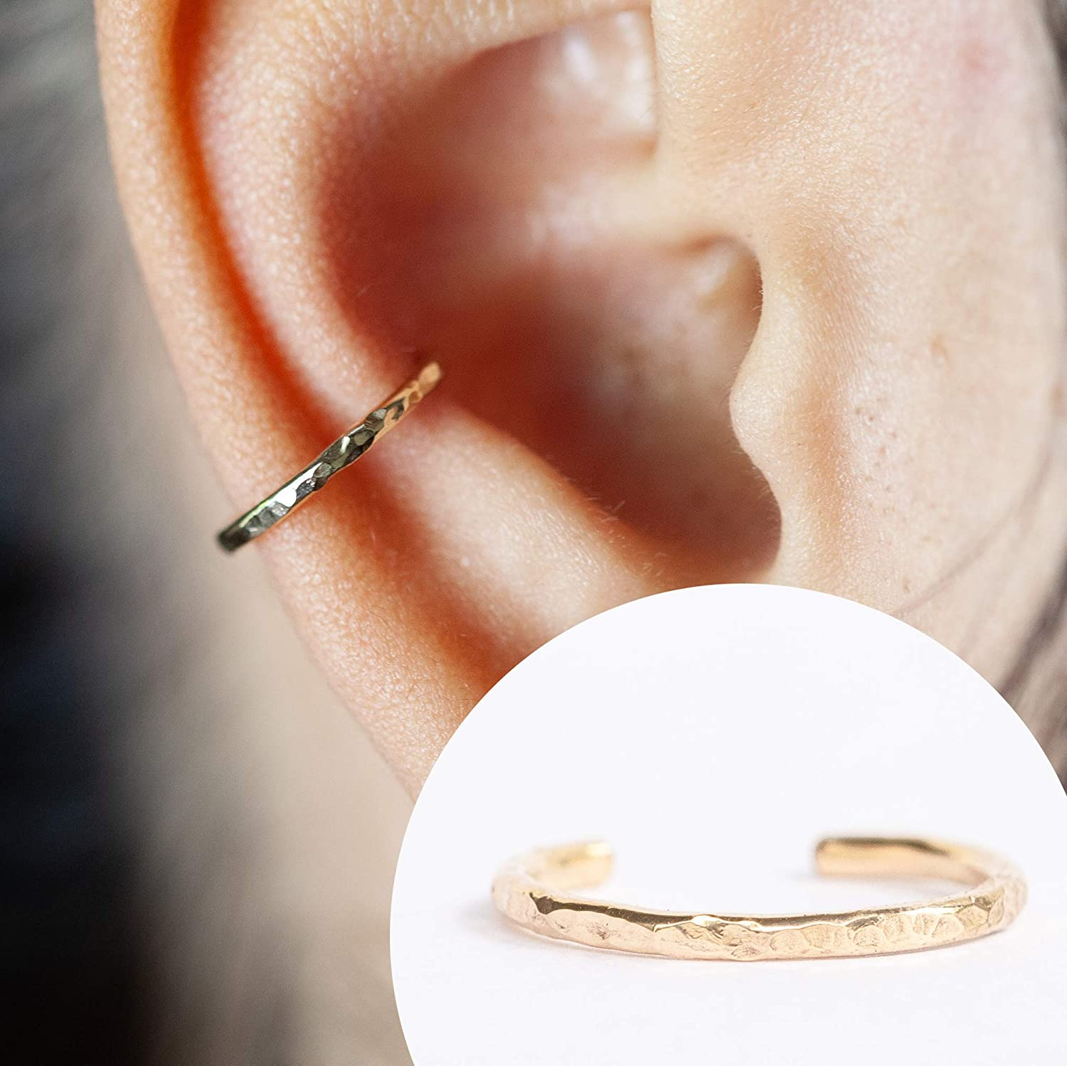16 Gauge Ear Cuff - For Pierced or Non Pierced - Ear Conch Piercing Hammered Design 14K Gold Filled 16g 10MM 81EP6HAztaL