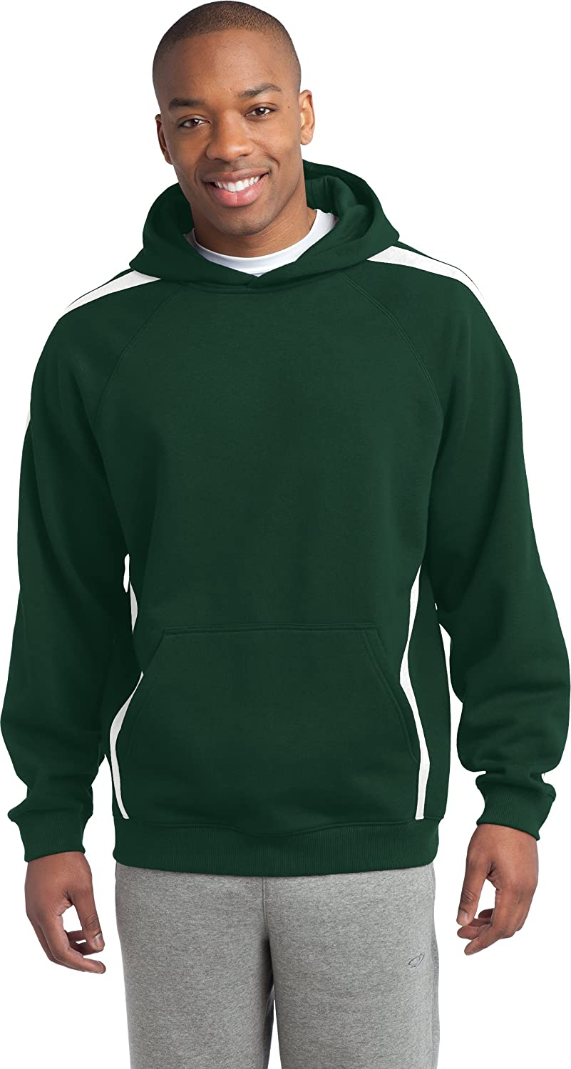 Sport-Tek Sleeve Stripe Pullover Hooded Sweatshirt/_Forest Green//White/_XS