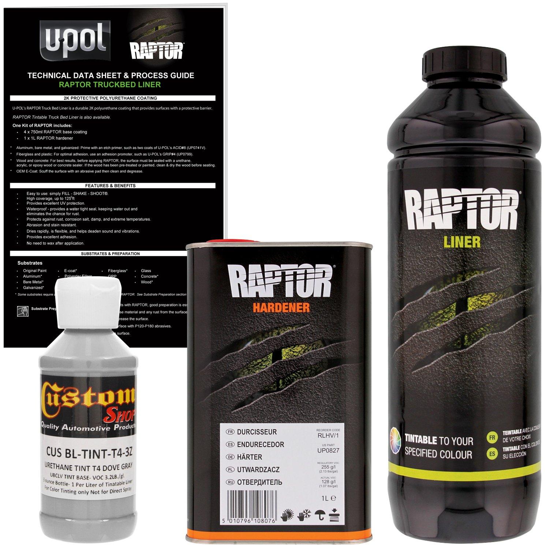 U-POL Raptor Dove Gray Urethane Spray-On Truck Bed Liner & Texture Coating, 1 Liter