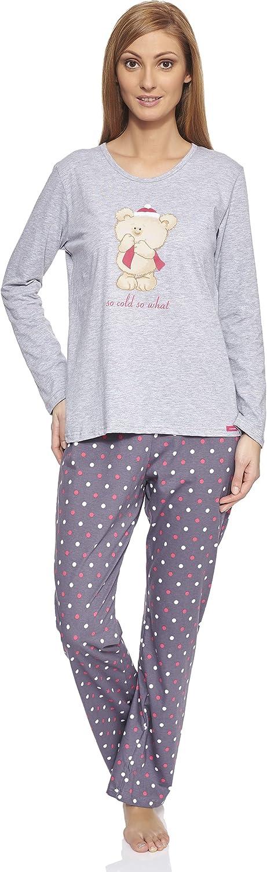 Cornette Pijama Conjunto Camiseta y Pantalones Ropa de Casa Mujer CR-655-So-Cold