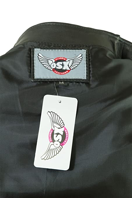 Osx Men Black Classic Sleeveless Biker Leather Waistcoat Jacket at Amazon Mens Clothing store: