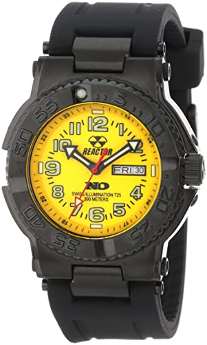 REACTOR Men s 59807 Trident Never Dark Yellow Dial Black Rubber Strap Sport Watch