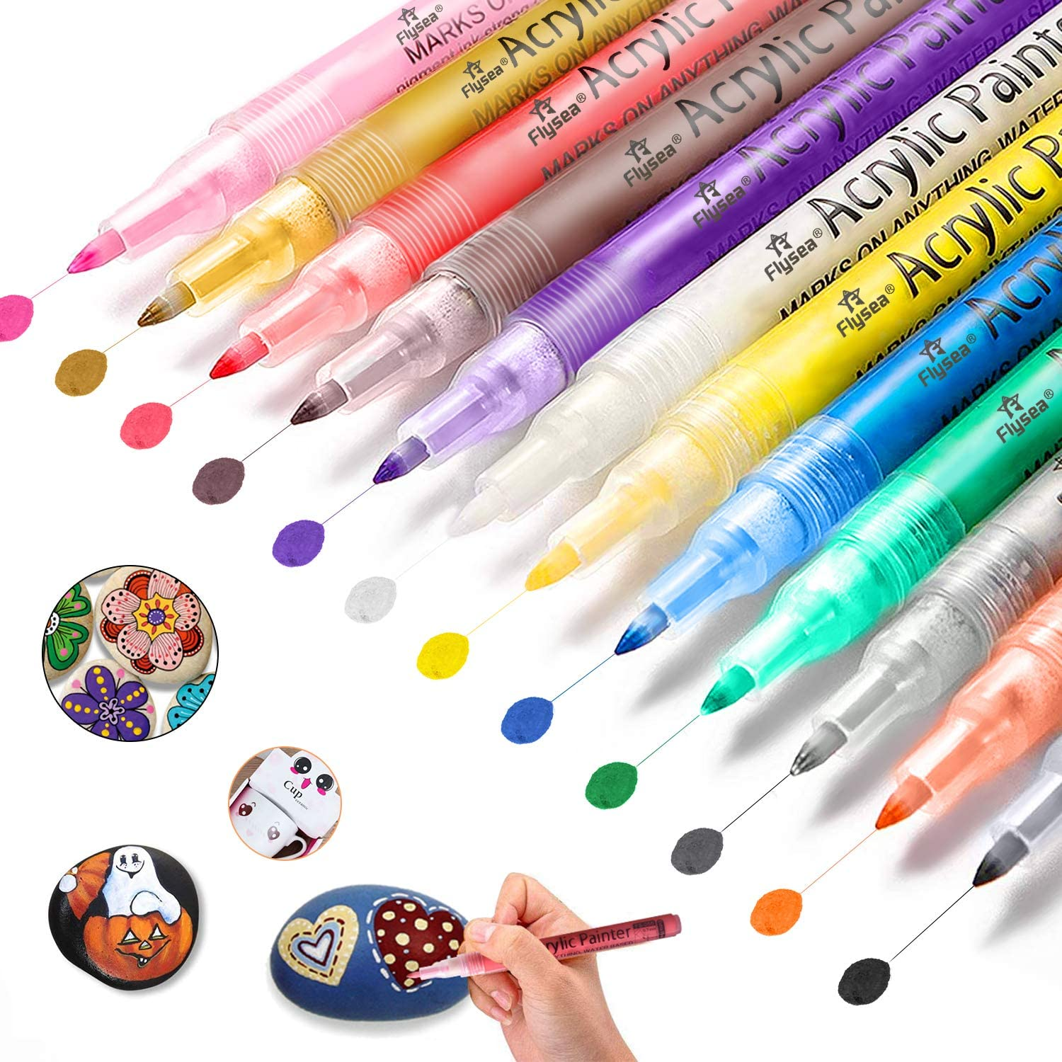 DIY Craft Projects Wood Glass Pebbles Stones 24 Colors Metallic Marker Pens Permanent Water Based Glass Rock Markers with 3mm Tip for Porcelain Gifort Acrylic Paint Pens Metal