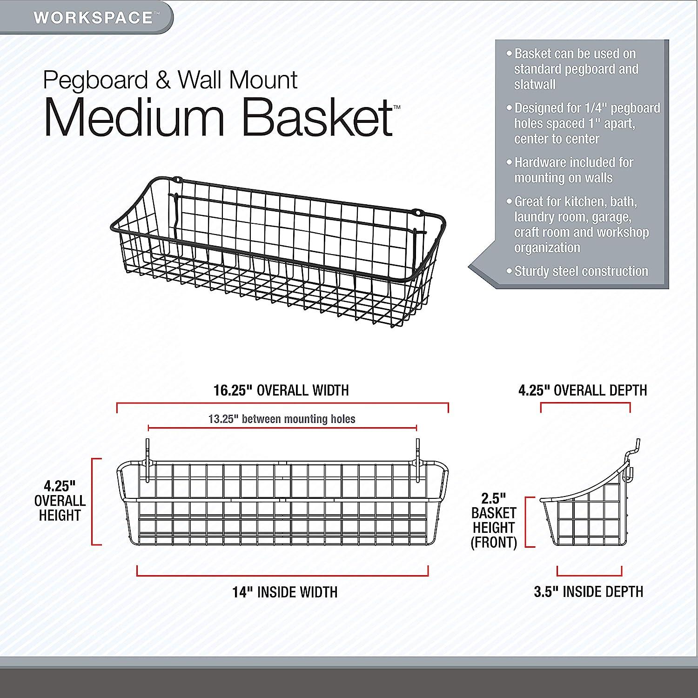 Industrial Gray 15 Spectrum Diversified 88376 Pegboard /& Wall Mount Basket 15 x 5 x 7