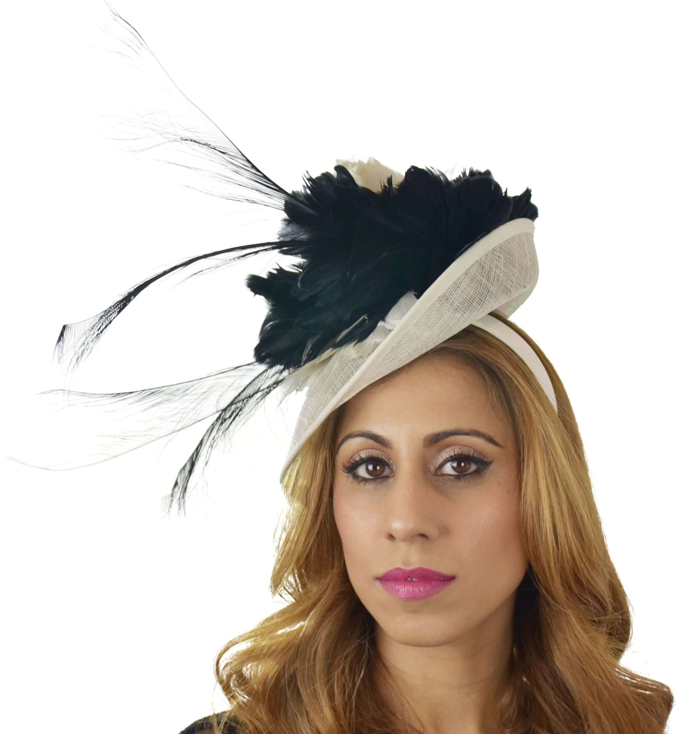 Hats By Cressida Ladies Wedding Races Ascot Derby Fascinator Headband Black Cream by Hats By Cressida