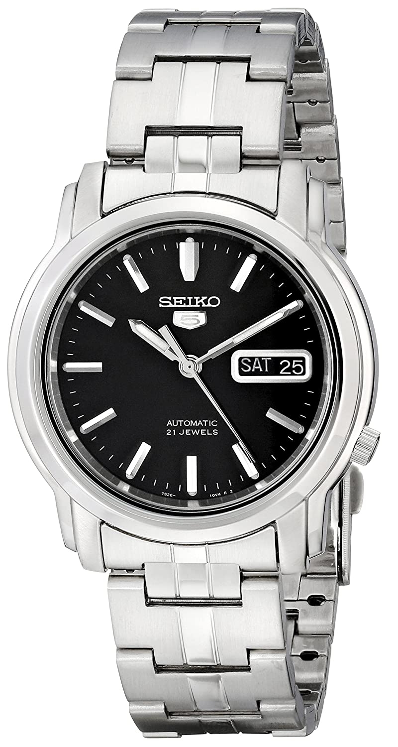 438da23cc Amazon.com: Seiko Men's SNKK71 Seiko 5 Automatic Stainless Steel Watch with  Black Dial: Seiko: Watches