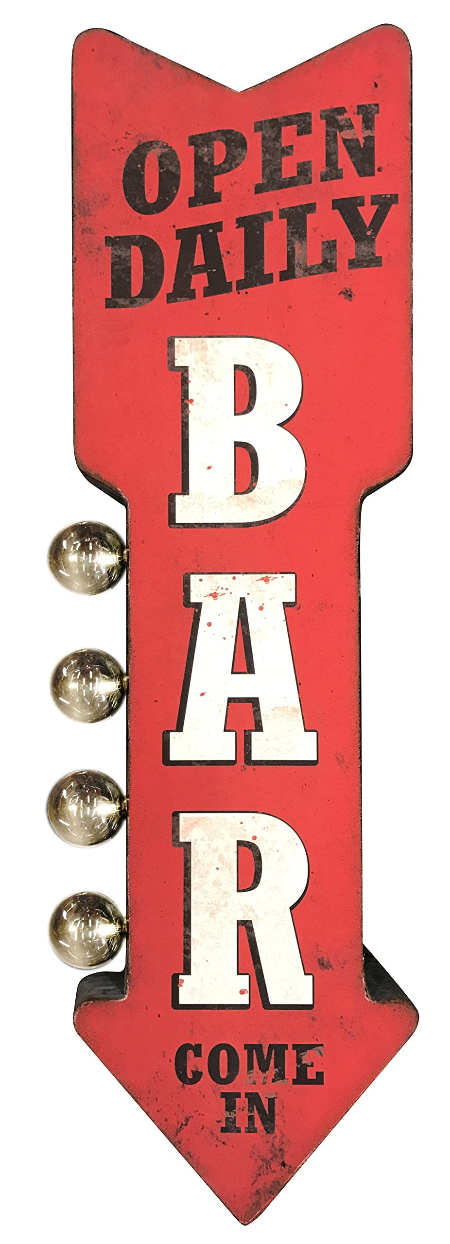 Bar Open Daily Reproduction Vintage Advertising Sign - Battery Powered LED Lights, Double Sided Metal Wall Mounted - 25 x 8 x 4 inches by SOTT