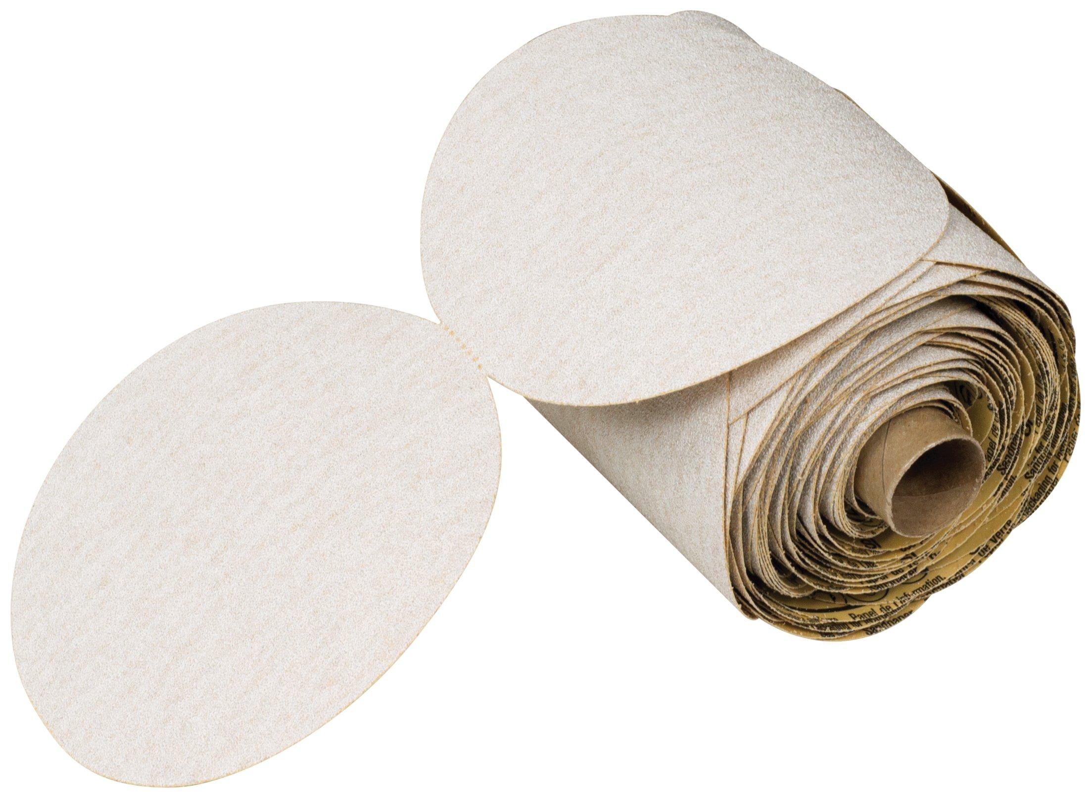 3M NX PSA Paper Disc Roll, Aluminum Oxide, 6'' Diameter, P180 Grit, White (Roll of 100)