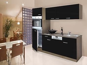 respekta Instalación de Single Cocina - Bloque de Cocina (205 cm Roble York Negro vitrocerámica: Amazon.es: Hogar