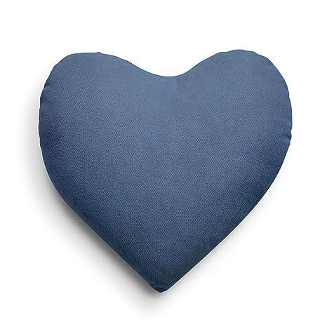 SuenosZzz- COJIN Relleno Corazon. Cojines Decoracion, Sofa,Cama, tapizado Acualine Antimanchas Azul. Medidas: 44x46 Decoracion CASA.