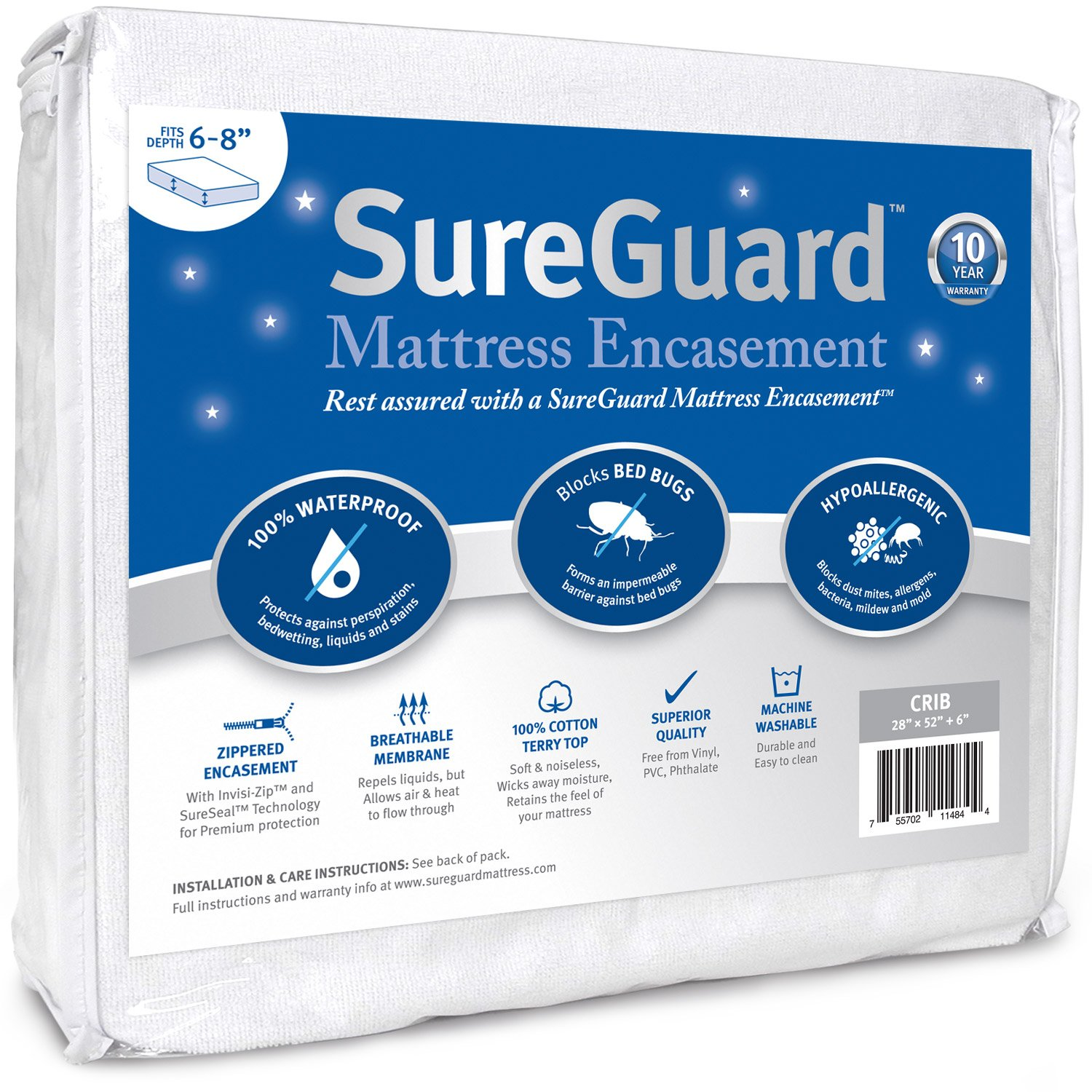 Crib Size SureGuard Mattress Encasement - 100% Waterproof, Bed Bug Proof, Hypoallergenic - Premium Zippered Six-Sided Cover