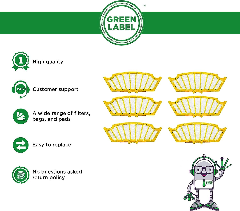 Empaque de 6 Filtros Estándares para iRobot Roomba de la serie 500 (a excepción de 53601 y 55101). Reemplaza a 81501. Producto genuino de Green Label