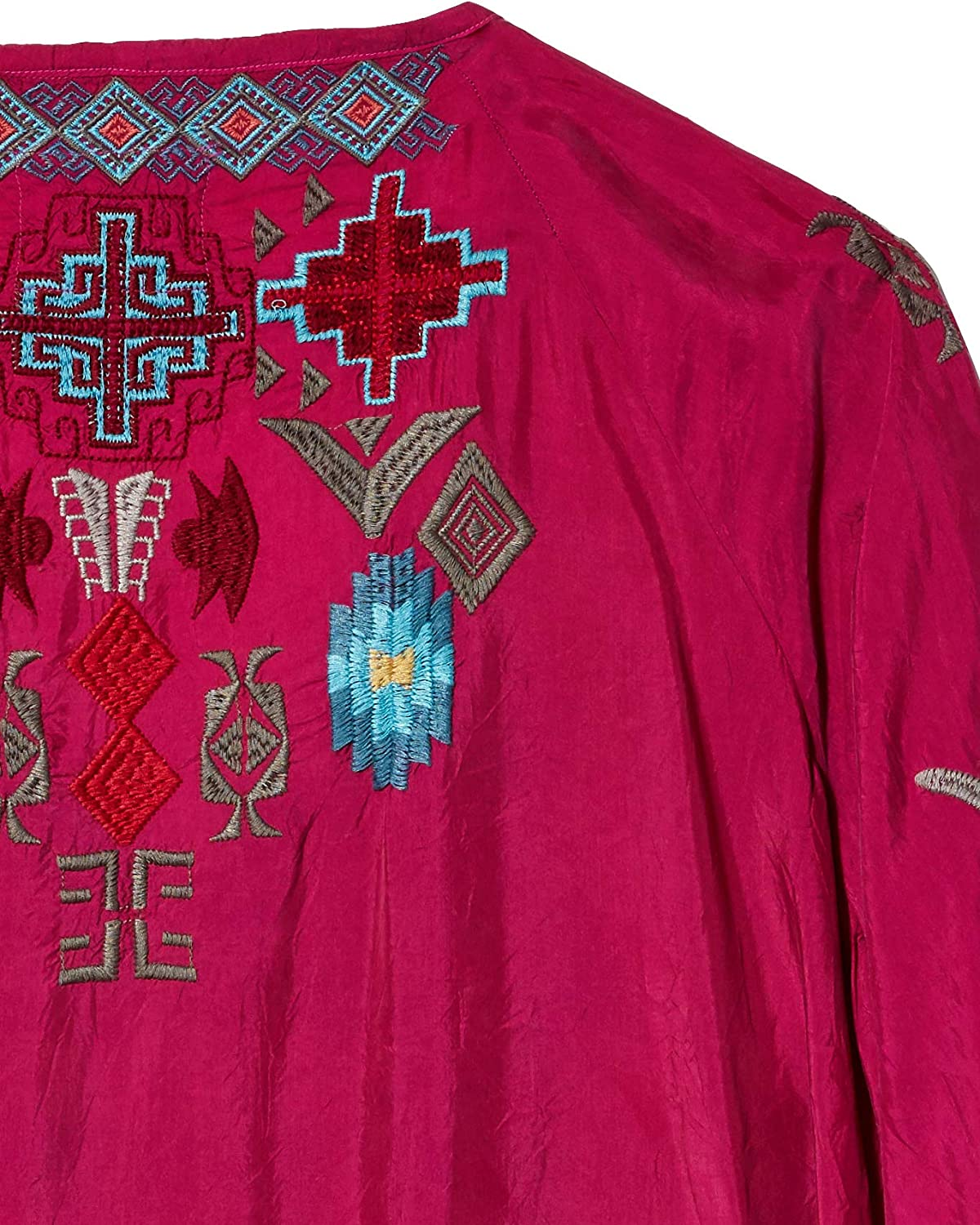 Biya Johnny Was Women's Long Sleeve Cupra Rayon Blouse with All Over Embroidery Dragon Fruit