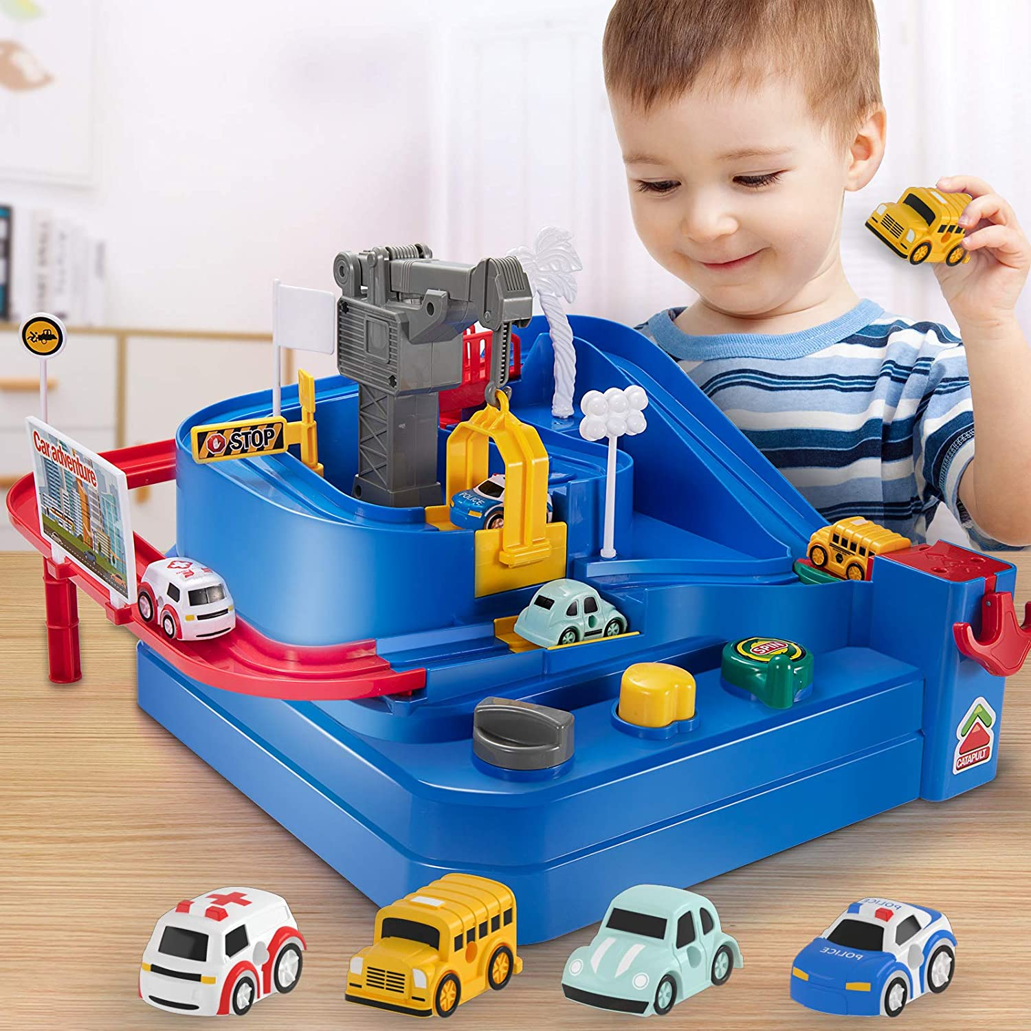 Race Car Track Toy - Baby Home Educational Toddler Race Tracks Car Adventure Puzzle Playsets Toys for Boys Girl Gift with 4 Mini Cars for Kids Toys Age 3+